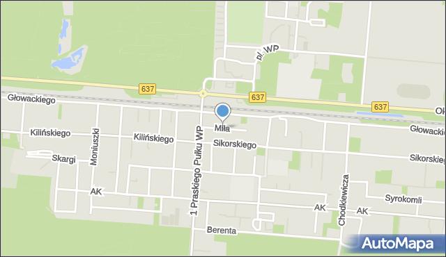 Warszawa, Miła, mapa Warszawy