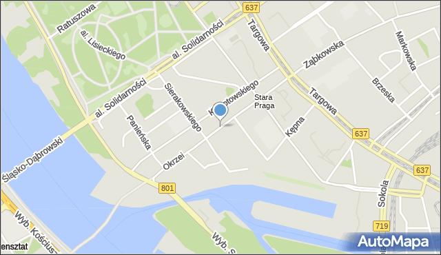 Warszawa, Okrzei Stefana, mapa Warszawy