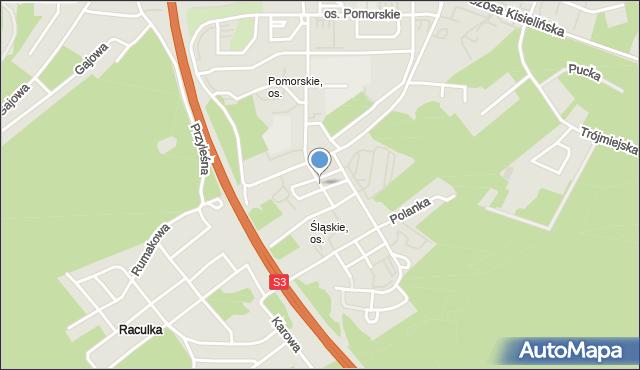 Zielona Góra, Osiedle Śląskie, mapa Zielona Góra