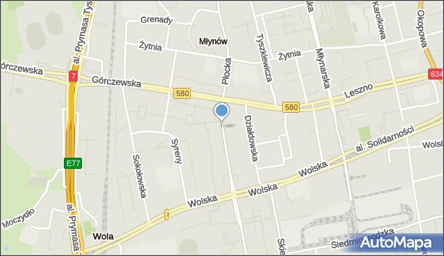 Warszawa, Płocka, mapa Warszawy