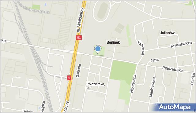 Łódź, Pojezierska, mapa Łodzi