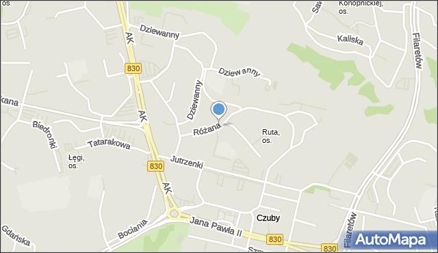 Lublin, Różana, mapa Lublina