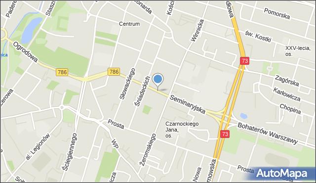 Kielce, Seminaryjska, mapa Kielc