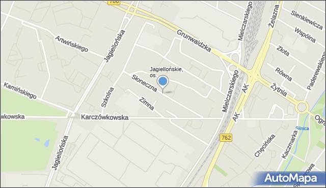 Kielce, Słoneczna, mapa Kielc
