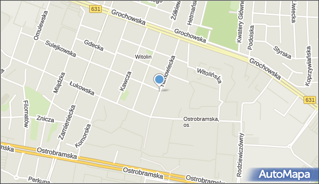 Warszawa, Tarnowiecka, mapa Warszawy