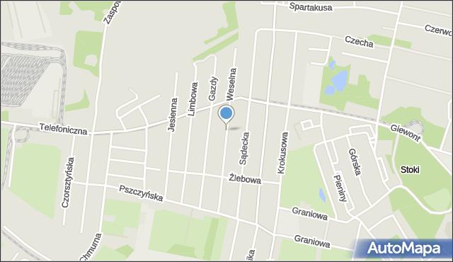 Łódź, Weselna, mapa Łodzi
