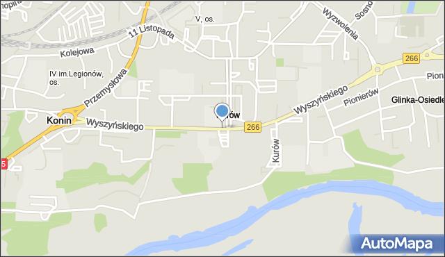 Konin, Wyszyńskiego Stefana, ks. kard., mapa Konina