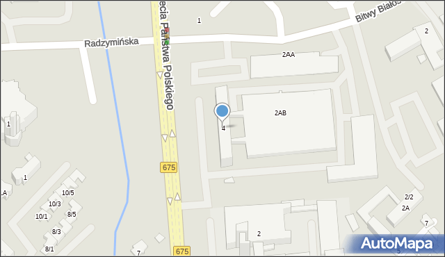 Białystok, Aleja Tysiąclecia Państwa Polskiego, 4, mapa Białegostoku