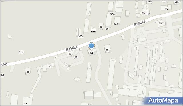 Kraków, Balicka, 84, mapa Krakowa