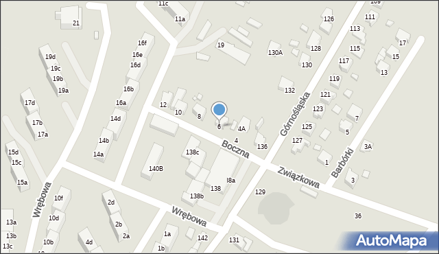 Rybnik, Boczna, 6, mapa Rybnika