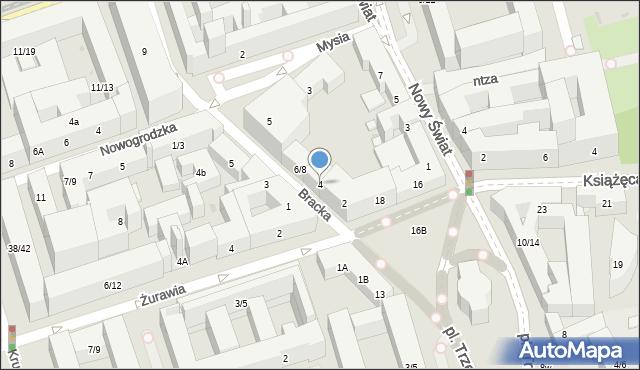 Warszawa, Bracka, 4, mapa Warszawy