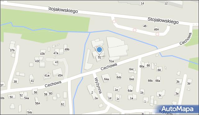 Kraków, Cechowa, 51, mapa Krakowa