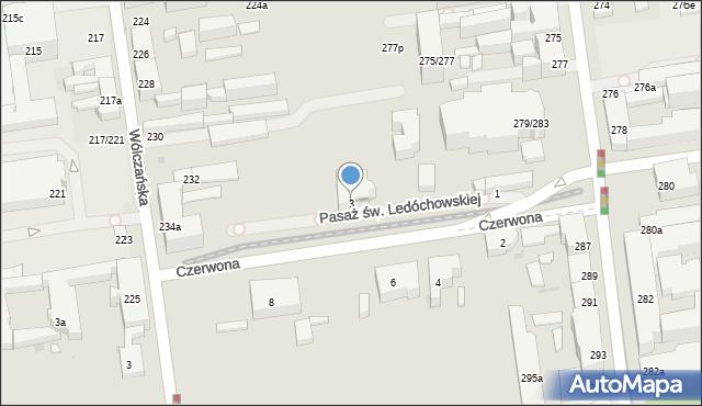 Łódź, Czerwona, 3, mapa Łodzi