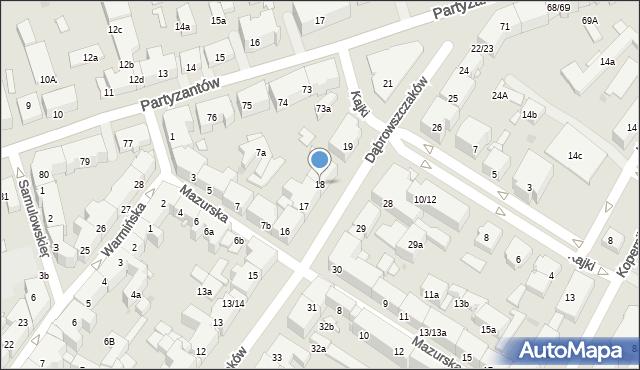 Olsztyn, Dąbrowszczaków, 18, mapa Olsztyna