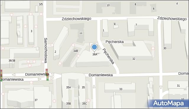Warszawa, Domaniewska, 34A, mapa Warszawy