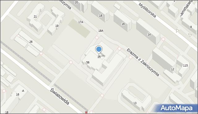 Warszawa, Erazma z Zakroczymia, 15, mapa Warszawy