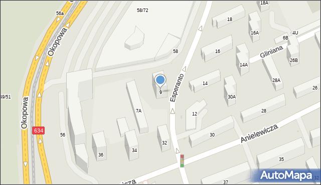 Warszawa, Esperanto, 9, mapa Warszawy