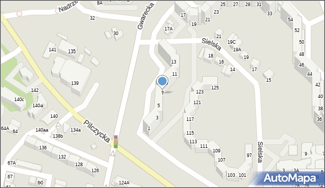 Wrocław, Gwarecka, 7, mapa Wrocławia