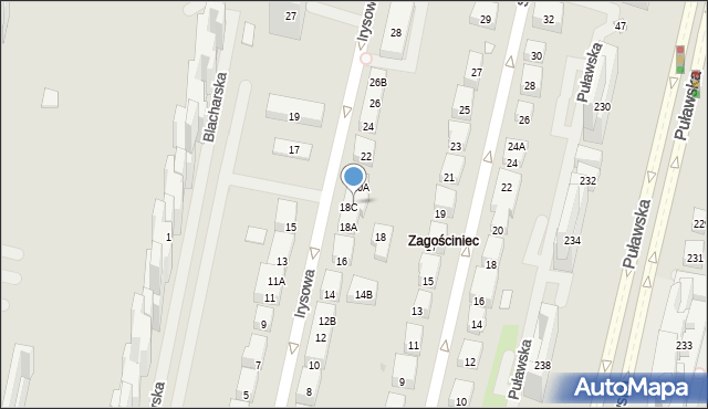 Warszawa, Irysowa, 20B, mapa Warszawy
