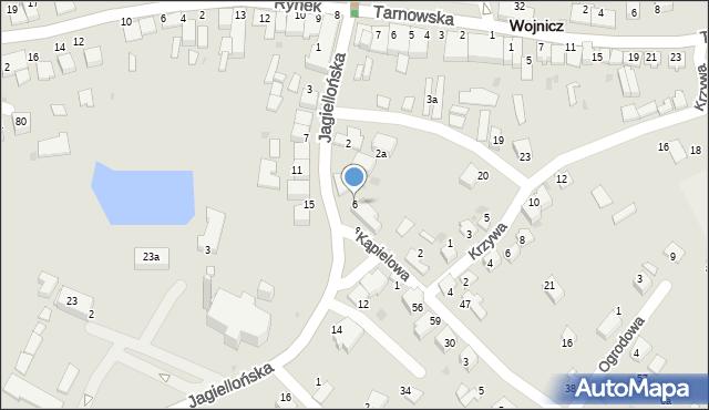 Wojnicz, Jagiellońska, 6, mapa Wojnicz