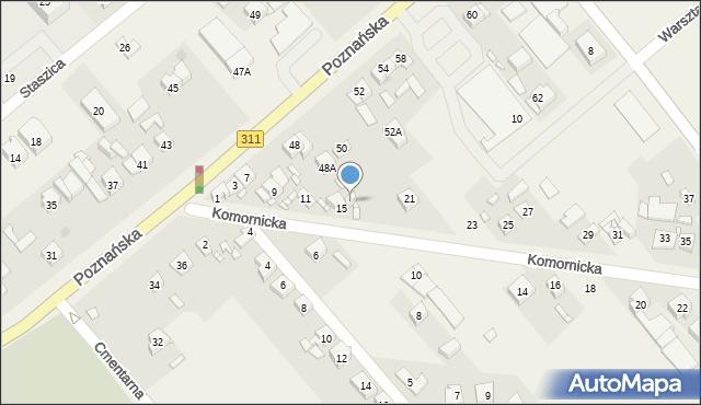 Komorniki, Komornicka, 17, mapa Komorniki