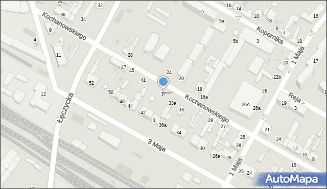 Kutno, Kochanowskiego Jana, 37, mapa Kutno
