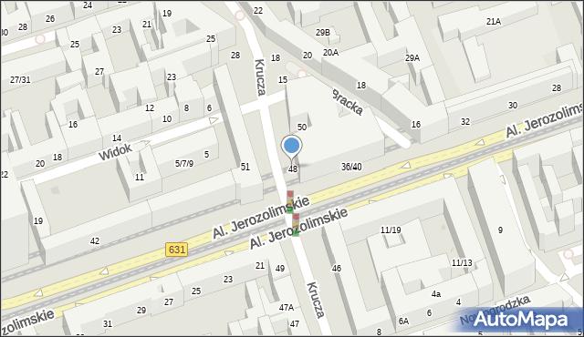 Warszawa, Krucza, 48, mapa Warszawy