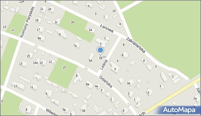 Łask, Leśna, 1a, mapa Łask