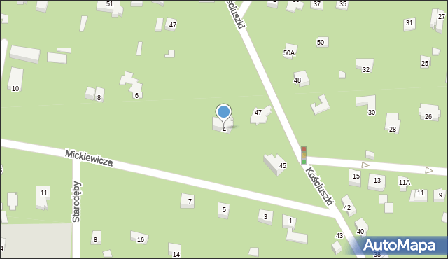 Milanówek, Mickiewicza Adama, 4, mapa Milanówek