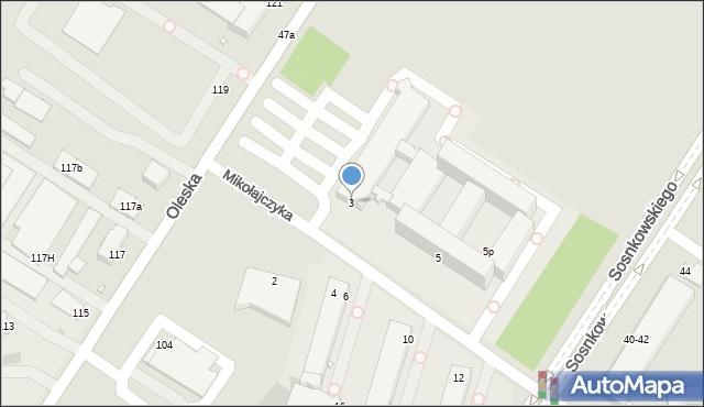Opole, Mikołajczyka Stanisława, 3, mapa Opola
