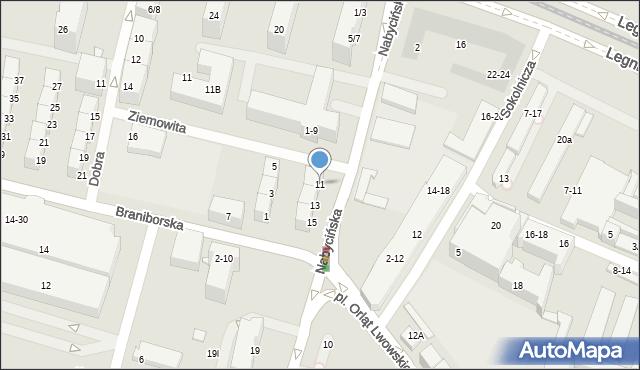 Wrocław, Nabycińska, 11, mapa Wrocławia
