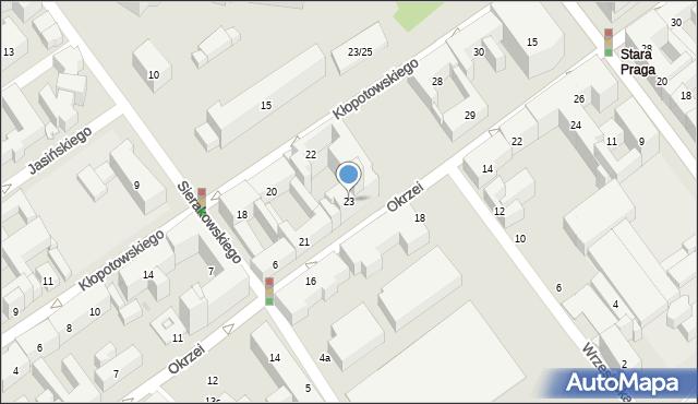 Warszawa, Okrzei Stefana, 23, mapa Warszawy