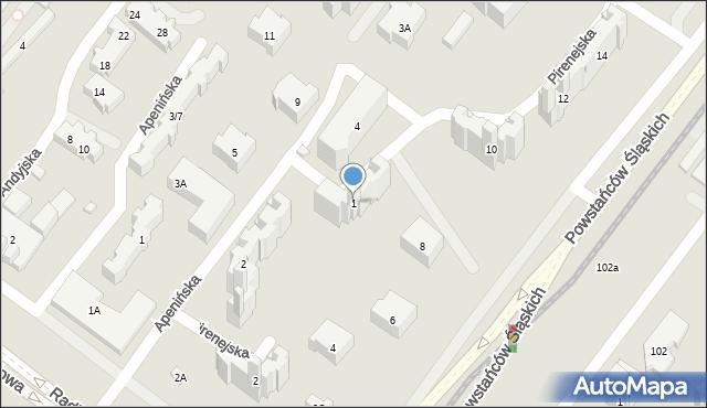 Warszawa, Pirenejska, 1, mapa Warszawy