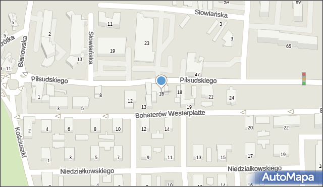 Zawiercie, Piłsudskiego Józefa, marsz., 16, mapa Zawiercie