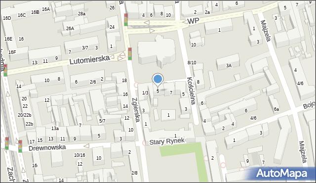 Łódź, Plac Kościelny, 5, mapa Łodzi