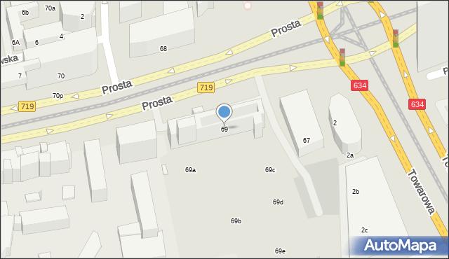 Warszawa, Prosta, 69, mapa Warszawy