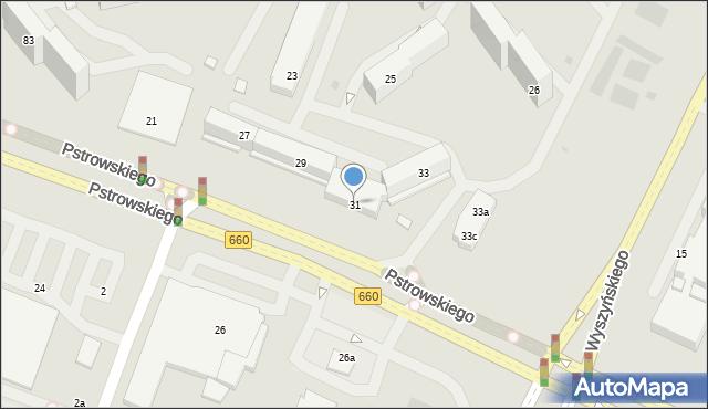Olsztyn, Pstrowskiego Wincentego, 31, mapa Olsztyna