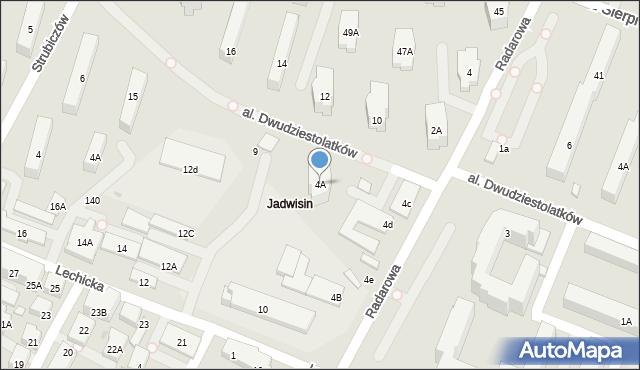 Warszawa, Radarowa, 4A, mapa Warszawy