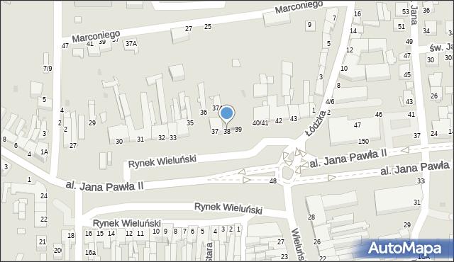 Częstochowa, Rynek Wieluński, 38, mapa Częstochowy