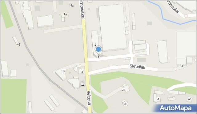 Limanowa, Skrudlak, 1, mapa Limanowa