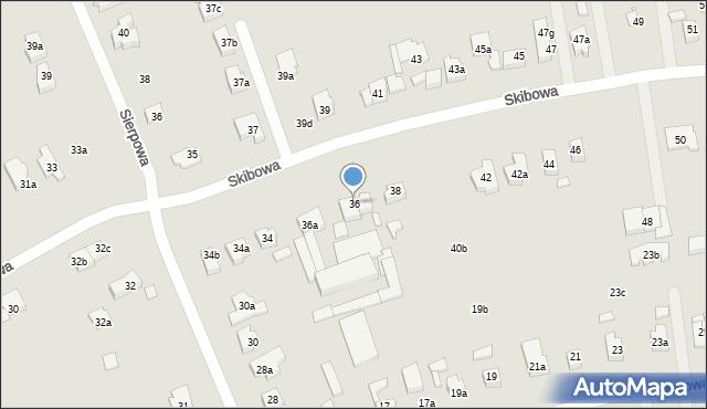 Poznań, Skibowa, 36, mapa Poznania