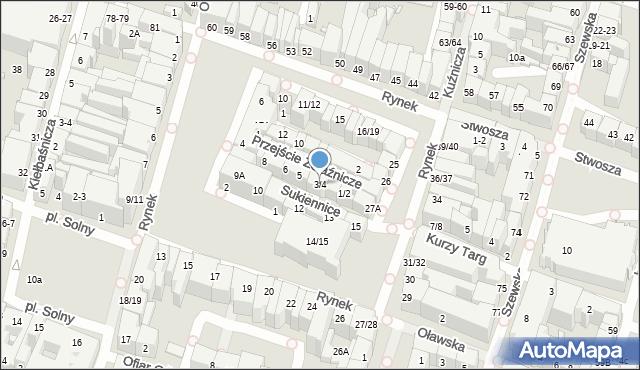 Wrocław, Sukiennice, 3/4, mapa Wrocławia