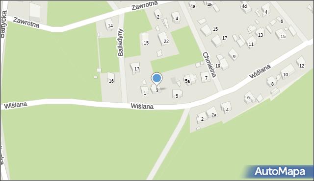 Szczecin, Wiślana, 3, mapa Szczecina