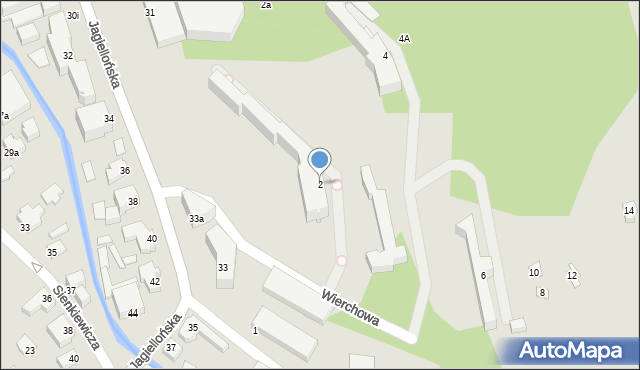 Zakopane, Wierchowa, 2, mapa Zakopanego