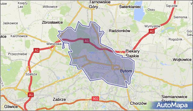 gmina Bytom - powiat Bytom na mapie Targeo