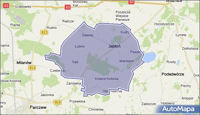 gmina Jabłoń - powiat parczewski na mapie Targeo
