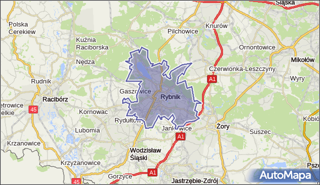 gmina Rybnik - powiat Rybnik na mapie Targeo