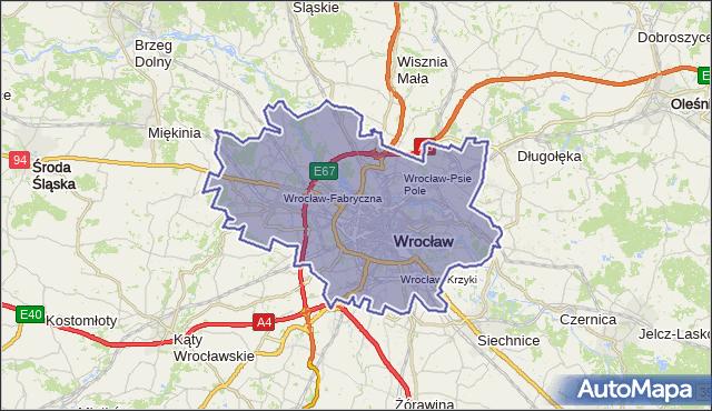 gmina Wrocław - powiat Wrocław na mapie Targeo