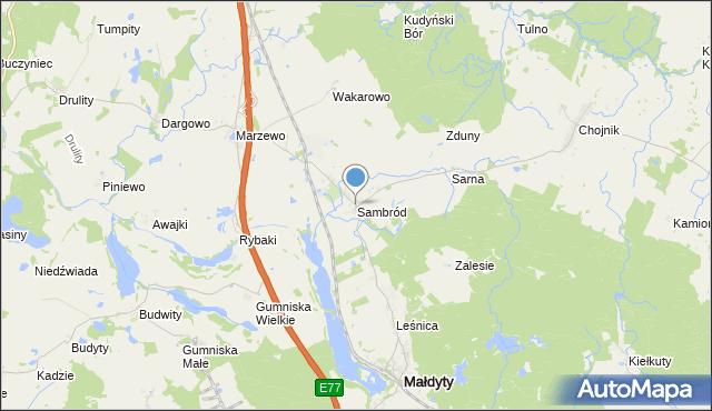 mapa Sambród, Sambród na mapie Targeo