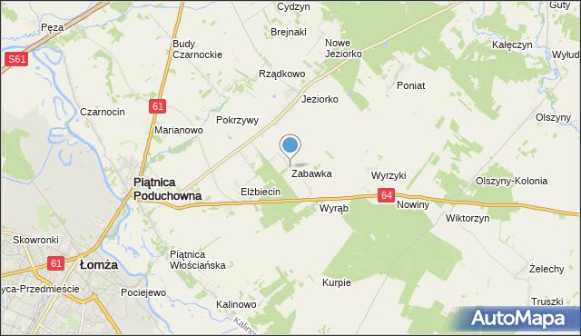mapa Zabawka, Zabawka gmina Piątnica na mapie Targeo